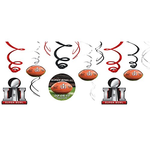 Amscan NFL Super Bowl 51 Value Pack 12 Piece Swirl (Football Swirl Decorations)