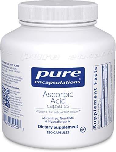 Pure Encapsulations - Ascorbic Acid Capsules - Hypoallergenic Vitamin C Supplement for Antioxidant Support* - 250 Capsules