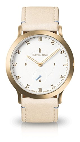 Lilienthal Berlin Watch - Made in Germany - Designed in Berlin. Model L1 with Stainless Steel Case (Size: 37.5 mm, Case: Gold/Dial: White/Strap: Creme)