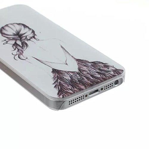 For iPhone 5 5s Design Mignon dur Matte Case PC, Yaobai Cover Case Mode Impression dure de PC Matte Retour Effacer protection Slim Ultra Perfect Fit Case pour Apple iPhone 5 5S