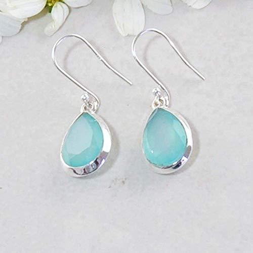 Sivalya 3.00 Ctw Pear Cut Peruvian Opal Earrings in 925 Sterling Silver - Genuine Teardrop Shape Gemstone Solid Silver French Hook Dangle Earrings 1.5
