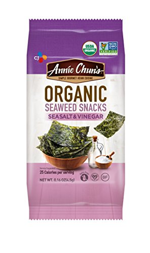 Annie Chun's Organic Seaweed Snacks, Sea Salt & Vinegar, 0.16-ounce (Pack of 12), America's #1 Selling Seaweed Snacks (Wakame Vegetable Sea)