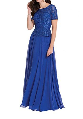 Partykleider Spitze Charmant Chiffon Brautmutterkleider Kurzarm Abendkleider Royal Blau Royal Bodenlang Blau Damen mit gzwrSqzn0