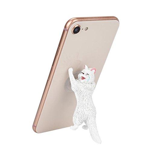 Cute Cat Phone Holder, Cartoon Cat Phone Sucker Bracket Animal Model Phone Stand for Smartphone (white)