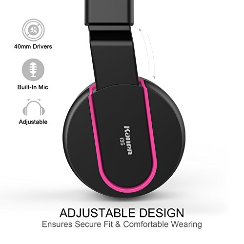 Amazon.com  AILIHEN I35 Headphones with Microphone Lightweight Foldable  Portable Wired Headsets for Cellphones Tablets Smartphones Laptop (Black  Rose)  Cell ... 56d2c3f8e7