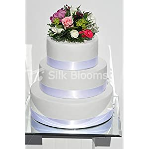 Gorgeous Fresh Touch Anemone and Pink and Ivory Rose Cake Topper with Scottish Foliage 97