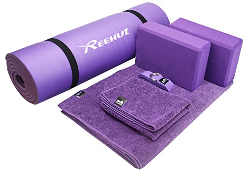 "Reehut Yoga Starter Kit 6 Piece Set Includes 1/2"" Thick NBR Exercise Mat, 2 Yoga Foam Blocks, 1 Hot Yoga Mat Towel, 1 Yoga Hand Towel & 1 Yoga Strap"