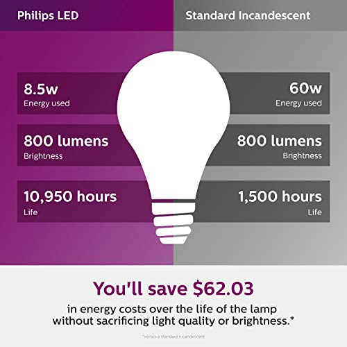 Philips LED 461129 Non-Dimmable A19 Frosted Light Bulb: 800-Lumen, 2700-Kelvin, 10-Watt (60-Watt Equivalent), E26 Base, Soft White, 16-Pack