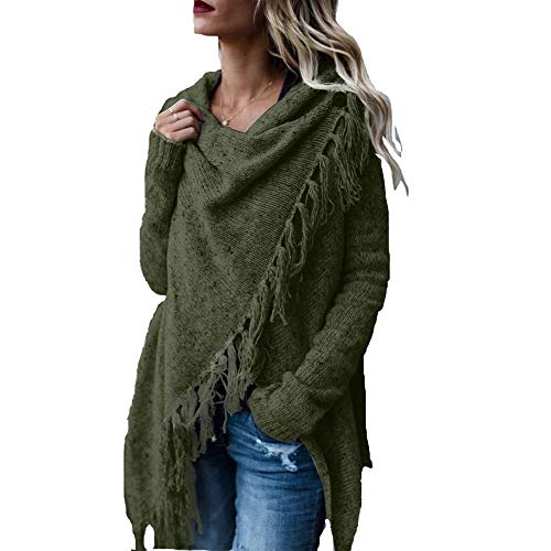 TRAIPAINK Womens Sweaters Casual Cowl Neck Knit Wrap Pullover Asymmetric Hem Sweater Coat with Button (Army Green, Medium) ()