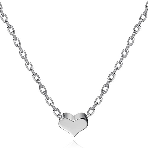 S.Leaf Tiny Heart Necklace Sterling Silver Delicate Love Heart Collar Necklace Dainty Necklace (Silver, 7)
