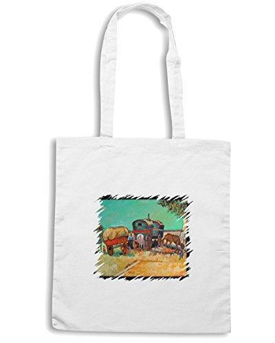 T-Shirtshock - Bolsa para la compra TDA0138 van gogh209 campo di zingari con carrozzoni Blanco