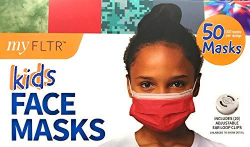 MY FLTR Kids Designed Face Masks Right Sized for Kids Adjustable Ear Loops 95% Filtration Including 20 Adjustable Ear…