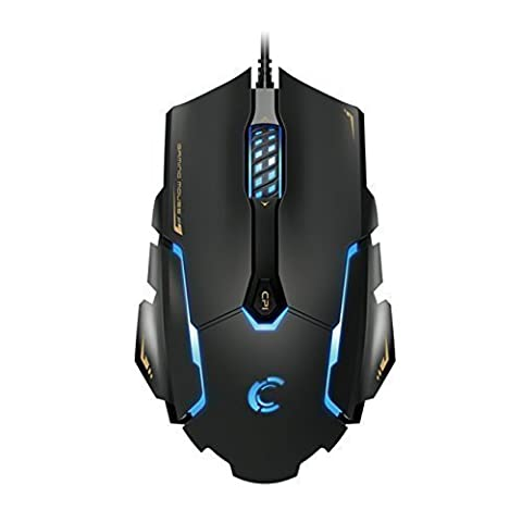 Comanro DM004 LED Rainbow Breathing Color 6 Buttons USB Wired Gaming Mouse for Pro Gamers with Micro Switch(DPI (Micro Mice)