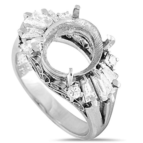 Luxury Bazaar Platinum Round and Baguette Diamond Mounting Ring