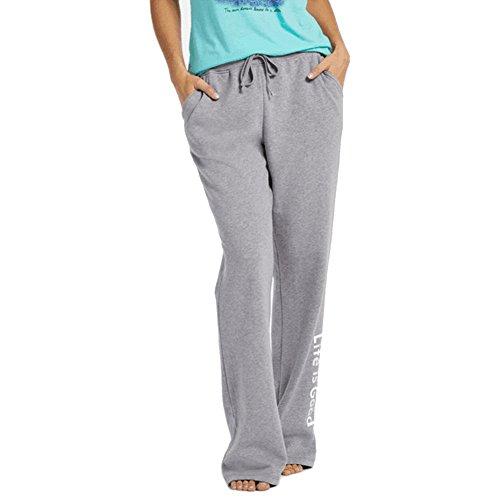 Life is Good Women's Fleece Lounge Evolved Classic Logo Pants, Heather Gray, X-Large (Pants Lounge Life Is Good)