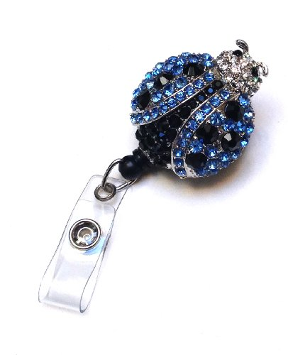 Sparkles! Sparkly Lady Bug Rhinestone Retractable Badge Reel/ ID Badge Holder / Brooch / Pendant / Id Badge Holder (Light Blue)