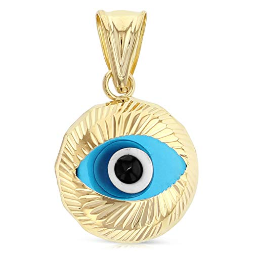 14K Yellow Gold Blue Evil Eye Fluted Round Charm Pendant For Necklace or Chain (14k Gold Fluted Yellow)