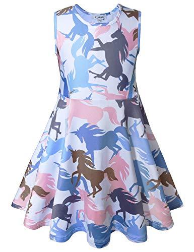 JK Unicorn Girls Dresses, Light Blue 6-7Years