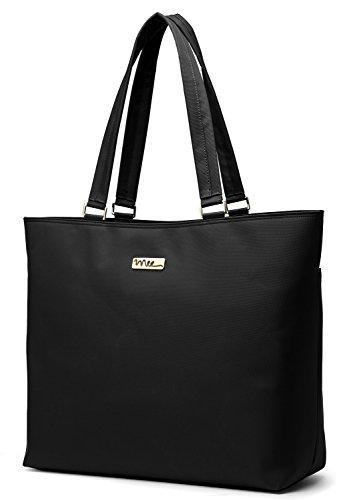 NNEE 15 15.6 Inch Water Resistance Nylon Laptop / MacBook Tote Bag Computer Travel Carrying Bag - Black