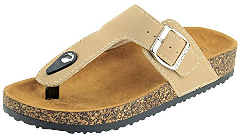 Anna Shoes Women's Thong Cork Sole Slide Sandal (6 B(M) US, (Anna Shoe)