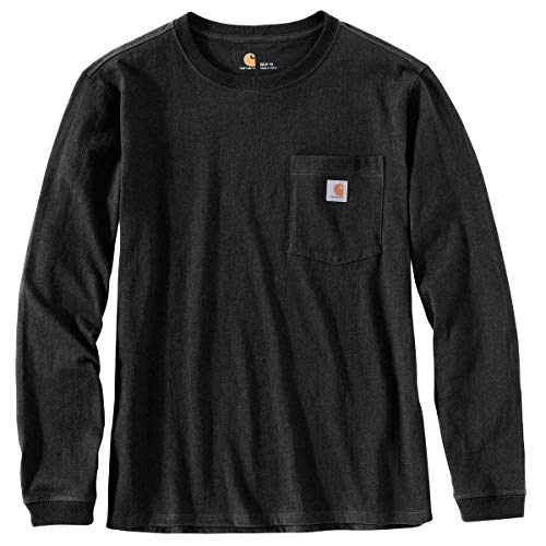 Carhartt Women's Wk126 Workwear Pocket Long Sleeve T-Shirt, Black, Medium by Carhartt