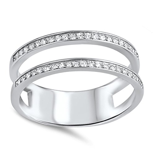 (Double Wedding Band Guard for Engagement Ring .925 Sterling Silver CZ 9)