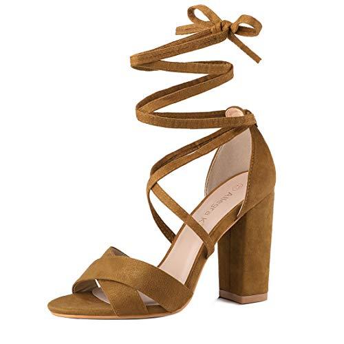 Allegra K Women's Heeled Lace up Brown Sandals - 9 M US ()