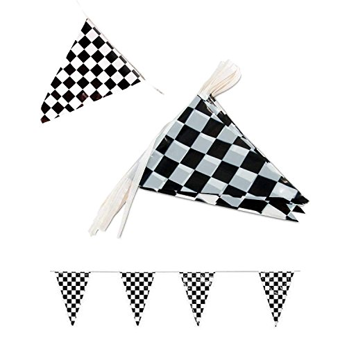 Tytroy Racing Pennant Flag Banners Black White Checkered Nascar Race Car Party Decor ()