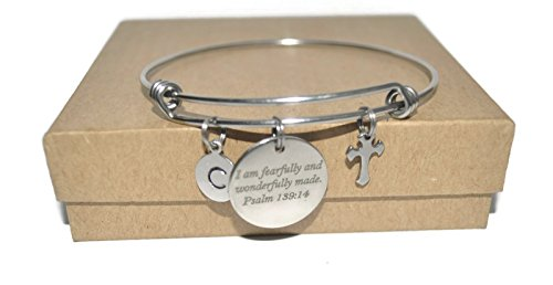 Psalm scripture fearfully made cross and initial stainless steel expandable initial (Initials Stainless Steel Bracelet)