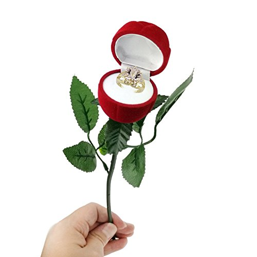Valentine Day Gifts Red Rose Jewelry Ring Gift Box Case for Ring Earring Romantic Engagement Wedding Ring Earrings 1pc (Design1)