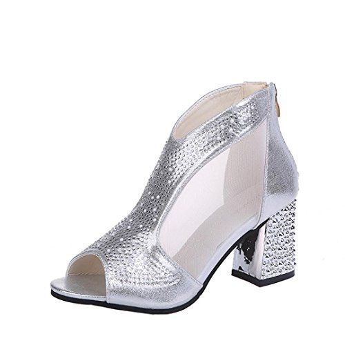 Perforated Fish (JJLOVER Women Perforated Elastic Side Stacked Rivets Zipper Fish Mouth Block Heel Sandals Shoes (Silver, 39))