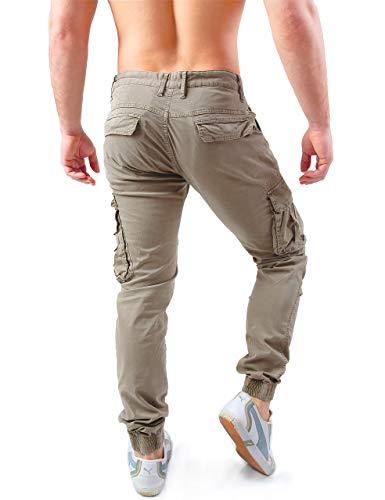 8801 Pantaloni Con Uomo Tasche W7 Fit Tasconi Laterali Cargo Zip Khaki Instinct Slim Hqdt6n77