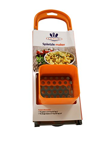 Spaetzle Maker By HARCCI : Homemade German Noodle Dumpling Making Tool With Safety Pusher And A Comfortable Handle – Stainless Steel And Food Grade Plastic In 5 Fun Colors (Orange)