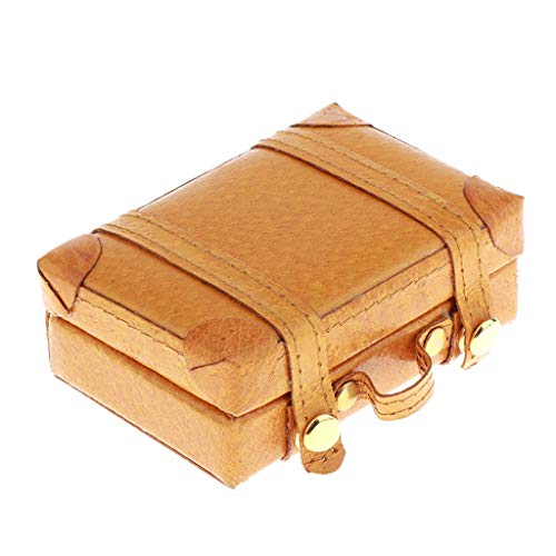 1/6 Classic Doll Dollhouse Miniature Toy PU Leather Trunk Box Suitcase Luggage Traveling Case