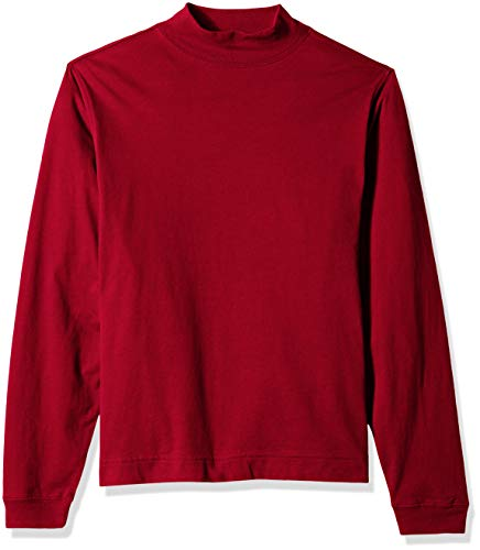 (D & Jones Men's Sueded Cotton Jersey Mock Turtleneck, CRIMSON M)