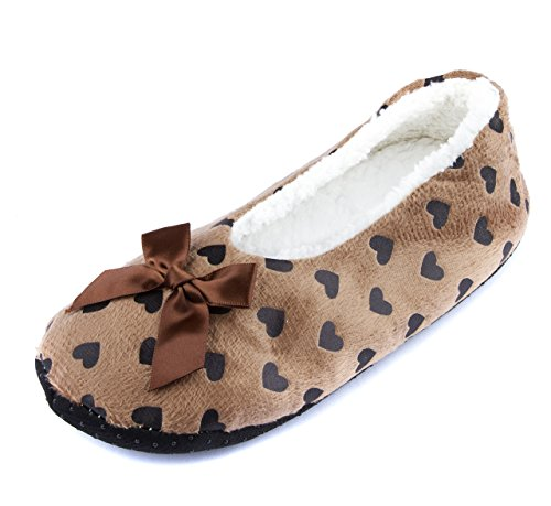 Leisureland Womens Cozy Slippers Heart Love Design Brown