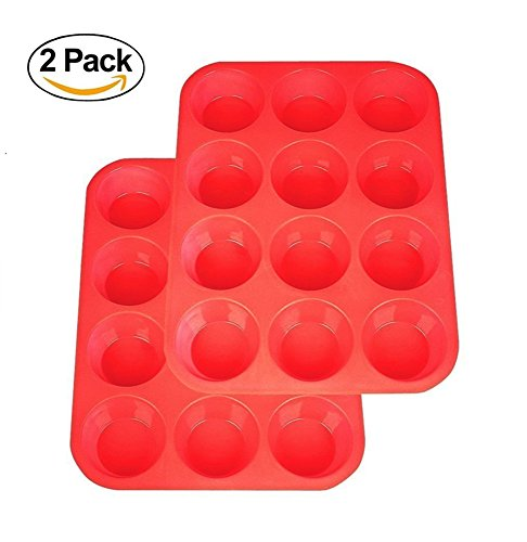 Silicone Molds, 2Packs Silicone Muffin Pan Non Stick Cupcake Baking Pan (Red)