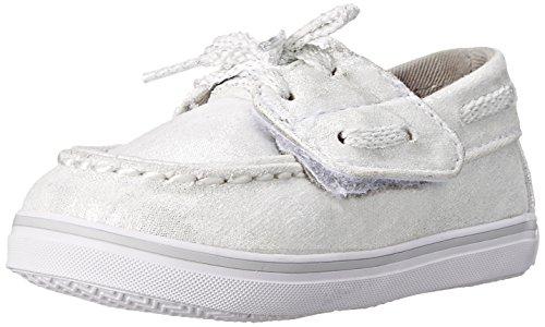 Sperry Top-Sider Bahama Crib JR Boat Shoe (Infant/Toddler),White/Silver,4 M US Toddler