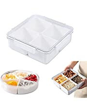 Divided Tray with Clear Lid Platter Plastic Container Compartments Storage Organizer for Candy, Fruits, Nuts, Snacks (Square)
