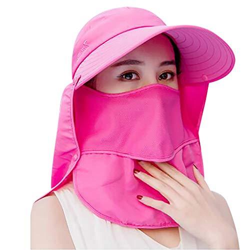 Fine Fishing Hat Folding Sun Hat 360° UV Protection Adjust Cap for Men Women Hiking Fishing Outdoor Yard Garden Working (Hot Pink) ()