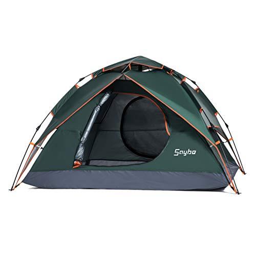 SayBe Draussen Camping 2-3 Personen wasserdicht Zelt Doppelschichtiges Pop Up Zelt