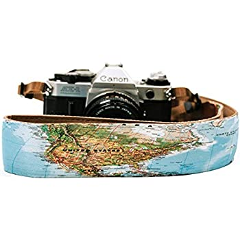 Canon, Nikon, Sony, Pentax, Leica, Olympus, Panasonic, Fuji, Lumix World Map Design Livoree Travel Camera Strap for DSLR//SLR and Vintage for All Cameras Genuine Leather Cotton Canvas
