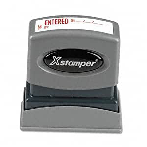 "Xstamper 1822 ENTERED ON/BY with Space for Name and Date, Pre Inked Laser Engraved Rubber Stamp, Red Ink, Impression Size: 1/2"" x 1-5/8"""