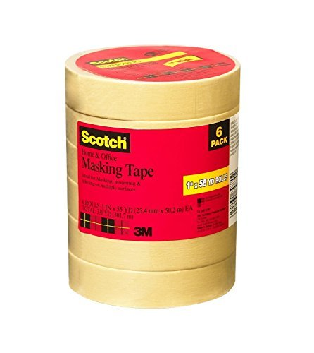 Scotch Home and Office Masking Tape, 1-Inch x 55 Yards, 6 Rolls (3437-6-MP)(2Pack)