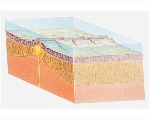 Model Earth Section Cross (Media Storehouse 10x8 Print of Illustration of Oceanic Crust (13540567))