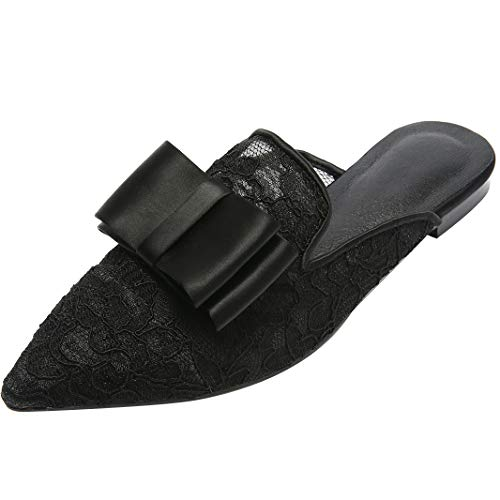 Slip Womens Loafers Loafers Lace Loafers Embellished Mavirs Backless Women On Bow for Slippers Black Mule Suede Awgna0