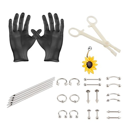 IPINK 32 Pieces Body Piercing Kit Needle 14G Sunflower Belly Button,Septum, Eyebrow, Nipple, Lip, Nose