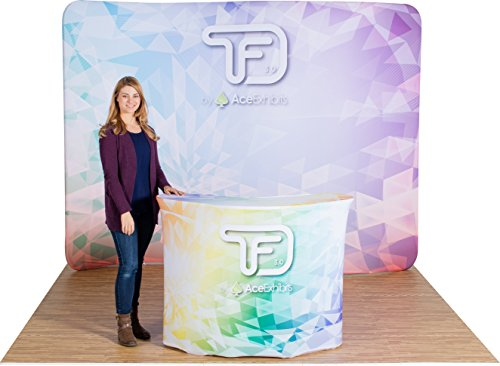 Ace Exhibits - 10' x 8' SERPENTINE TRU-FIT 3.0 - Dye-Sub Printed Graphic Stretch Tension Fabric Trade Show Display - Trade Show Booth - Tradeshow Display Banner Backdrop - Pop Up Display Exhibit Booth - Tension Display Fabric 10'