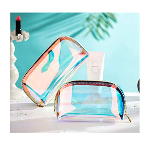 2 Pcs Small Holographic Clutch Makeup Cosmetic Bag Set For Purse Handy Compact Cosmetic Storage Pouch Organizer For Women Teens Girls