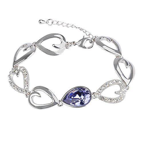 LETS MEETi Teardrop Purple Crystal Alloy Plated Platinum Link Bracelet for Women, 6.3inch+1.6 inch Extender